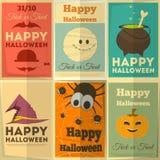 Halloweenowi plakaty ustawiający Obrazy Stock