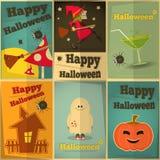 Halloweenowi plakaty ustawiający Zdjęcia Stock