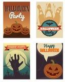 Halloweenowi plakaty ustawiający również zwrócić corel ilustracji wektora Zdjęcie Stock
