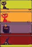Halloweenowi potworów sztandary ustawiający royalty ilustracja