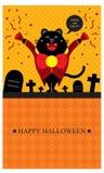 Halloweenowi powitania z czarnym kotem Ilustracja Wektor