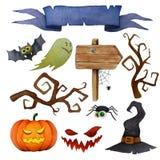 Halloweenowi projektów elementy Ustawiający Fotografia Stock