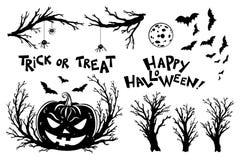 Halloweenowi przedmioty Straszne drzewo gałązki, nietoperze i dyniowi lampiony, ilustracji