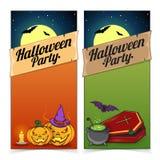 Halloweenowi sztandary lub ulotki pojęcie Zdjęcia Royalty Free