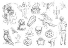 Halloweenowi wakacyjni przerażający i horror nakreślenia symbole royalty ilustracja