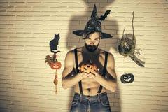 Halloweenowi wakacyjni tradycyjni symbole na białym ściana z cegieł obraz royalty free
