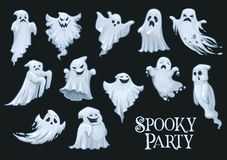 Halloweenowi wektorowi straszni duchy, straszny przyjęcie royalty ilustracja