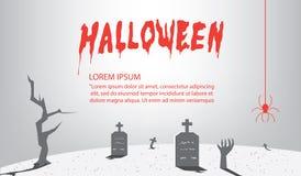 Halloweenowi znaki szarość dla zawartości Z tłem jako grobowiec royalty ilustracja