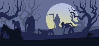Halloweenowy śmierci i żywych trupów wzrost od cmentarza royalty ilustracja
