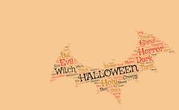 Halloweenowy backgroun: nietoperz robić od strasznych słów Zdjęcia Stock