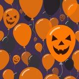 Halloweenowy balonu mieszkania wzoru kartka z pozdrowieniami Obraz Royalty Free