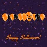 Halloweenowy balonu rzędu kartka z pozdrowieniami Zdjęcia Royalty Free