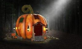 Halloweenowy bania dom, fantazja, Storybook obrazy royalty free