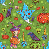 Halloweenowy bezszwowy śliczny wzór Obrazy Royalty Free