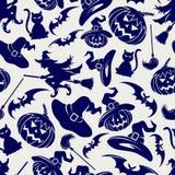 Halloweenowy bezszwowy błękita wzór Obraz Stock
