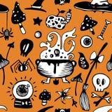Halloweenowy bezszwowy wektorowy tło z czarownica garnkiem, oczami, czaszkami i jadowitymi elementami, ilustracja wektor