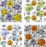 Halloweenowy bezszwowy wzór ilustracja wektor