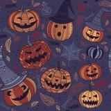 Halloweenowy bezszwowy wzór z ślicznymi baniami Fotografia Royalty Free
