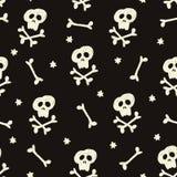 Halloweenowy bezszwowy wzór z ludzkimi czaszkami, crossbones i gwiazdami, Czarny pirata projekt tła kwiatów świeży ilustracyjny l ilustracja wektor