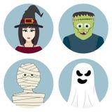 Halloweenowy charakter - set Czarownica, mamusia, duch, Frankenstein potwór Zdjęcie Royalty Free