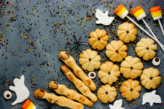 Halloweenowy ciastko fund i cukierków tło Obrazy Royalty Free