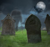 Halloweenowy cmentarz Obrazy Stock