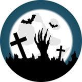 Halloweenowy cmentarz z Żywym Nieżywym obudzeniem ilustracji