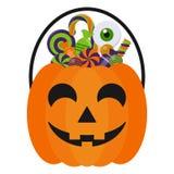 Halloweenowy cukierku wiadro, cukierki i ilustracji