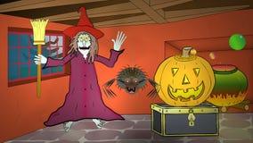 Halloweenowy czarownica dom 1: Żadny kreskówka royalty ilustracja