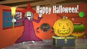Halloweenowy czarownica dom 2: Żadny tytuł: Szczęśliwa kreskówka ilustracja wektor