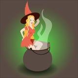Halloweenowy czarownicy kucharstwo Obrazy Stock