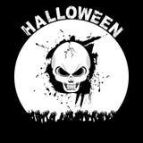 Halloweenowy czaszka tłum, tekst na czerni i ilustracji