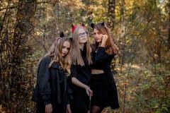 Halloweenowy daemon, maniaczka i czarownica w drewnach, zdjęcie royalty free