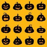 Halloweenowy dekoracja lampionu sylwetki set Obrazy Stock