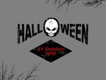 Halloweenowy dekoracyjny tekst z czaszką i datą ilustracja wektor