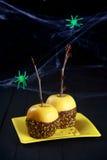 Halloweenowy deser zamaczający czekoladowi jabłka Fotografia Stock