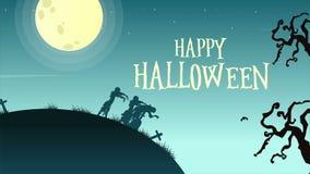 Halloweenowy dnia krajobraz z księżyc animacją royalty ilustracja