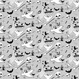 Halloweenowy doodle wzoru bw Obrazy Stock