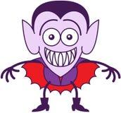 Halloweenowy Dracula ono uśmiecha się szeroko podczas gdy czuć zawtydzam Zdjęcia Royalty Free