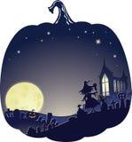 Halloweenowy Dwoistego ujawnienia tło z czarownicą na cmentarzu ilustracja wektor