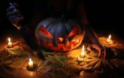 Halloweenowy Dyniowy Jack O& x27; Lampion Zdjęcia Stock