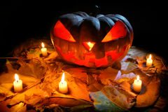 Halloweenowy Dyniowy Jack O& x27; Lampion Zdjęcie Stock