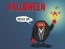 Halloweenowy dyniowy kamerdyner i słuzyć twój horror ilustracja wektor