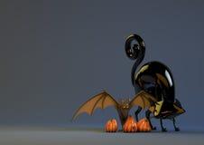 Halloweenowy Dyniowy nietoperz i Czarny kot Zdjęcia Royalty Free