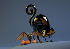 Halloweenowy Dyniowy nietoperz i Czarny kot Obrazy Royalty Free