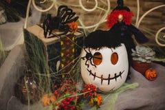 Halloweenowy dyniowy skład z wystrojem Zdjęcie Royalty Free