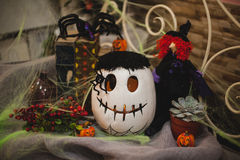 Halloweenowy dyniowy skład z wystrojem Zdjęcia Royalty Free