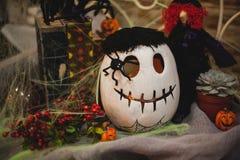 Halloweenowy dyniowy skład z wystrojem Obrazy Stock