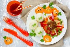 Halloweenowy gość restauracji lub lunch dla dzieciaków - pająka klopsik, mashed garnek Fotografia Royalty Free