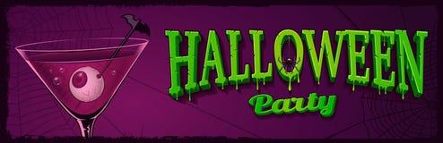 Halloweenowy horyzontalny sztandar z ilustracją koktajl z e Obraz Royalty Free